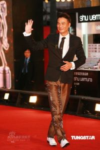 Simon Yam in black and brown satin, Hong Kong Film Awards, 2009