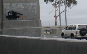 No Blood For Oil, stencil, Bay Bridge lower deck, 2009