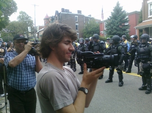 Independent media keeps an eye on riot police, Pittsburgh, PA, Sept. 24, 2009