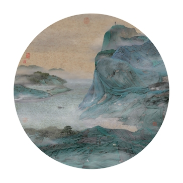 Yao Lu, New Landscape I-V, Clear Cliff Shrouded in Floating Clouds, 2007