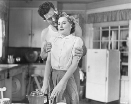 Ryan, Stanwyck, and fridge, Clash By Night, 1952
